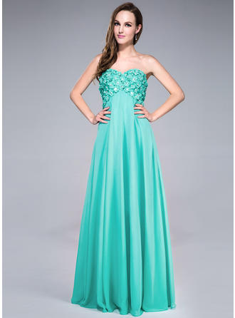 Empire Sweetheart Floor-Length Prom Dresses With Beading Flower(s) Sequins