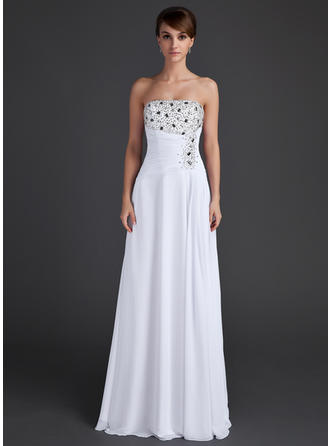 A-Line/Princess Strapless Floor-Length Evening Dresses With Ruffle Beading Sequins