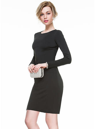 Sheath/Column Scoop Neck Short/Mini Jersey Cocktail Dress With Lace