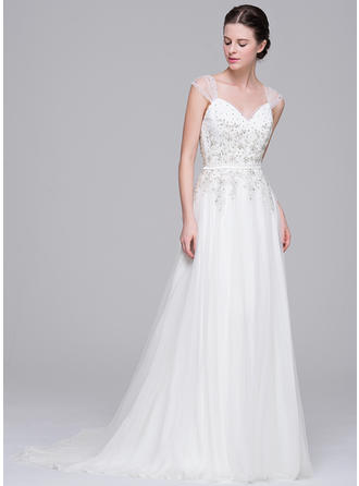 A-Line/Princess Sweetheart Sweep Train Wedding Dresses With Beading Appliques Lace Sequins