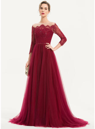 A-Line Off-the-Shoulder Sweep Train Tulle Evening Dress With Beading Sequins