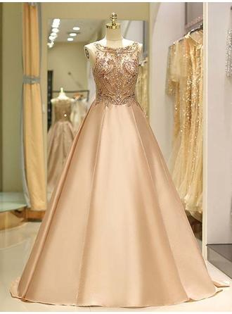 Ball-Gown Scoop Neck Sweep Train Prom Dresses With Beading