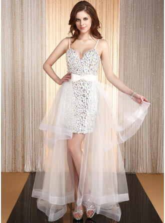 A-Line/Princess Sweetheart Asymmetrical Prom Dresses With Beading