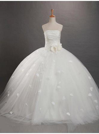 Ball Gown Strapless Sweep Train With Flower(s)/Rose Petals Tulle Flower Girl Dresses