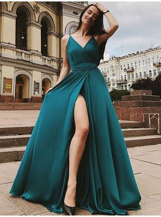 A-Line/Princess V-neck Sweep Train Evening Dresses With Ruffle Split Front