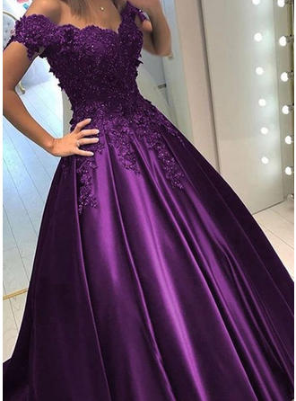 Ball-Gown Off-the-Shoulder Sweep Train Evening Dresses With Beading Sequins