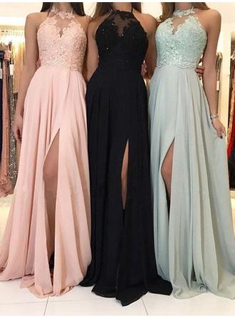 A-Line/Princess Halter Sweep Train Prom Dresses With Lace Beading
