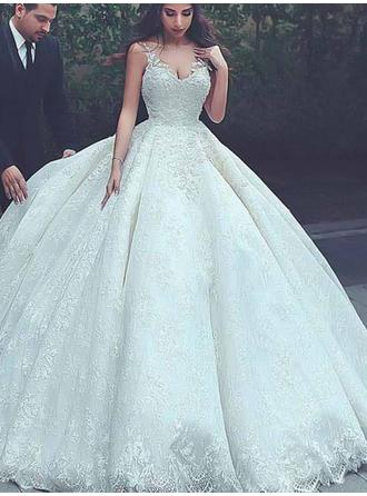 Ball-Gown V-neck Court Train Wedding Dresses With Lace