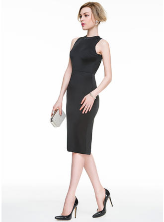 Sheath/Column Scoop Neck Knee-Length Jersey Cocktail Dress
