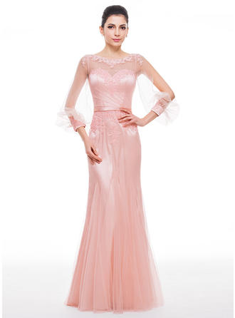 Trumpet/Mermaid Scoop Neck Floor-Length Evening Dresses With Beading Appliques Lace Sequins