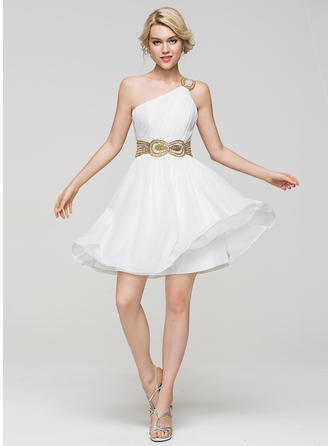 A-Line/Princess One-Shoulder Short/Mini Chiffon Homecoming Dresses With Ruffle Beading Sequins