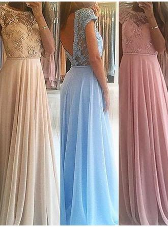 A-Line/Princess Chiffon Prom Dresses Beading Scoop Neck Sleeveless Floor-Length