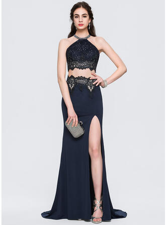Sheath/Column Scoop Neck Sweep Train Jersey Prom Dresses With Beading Split Front