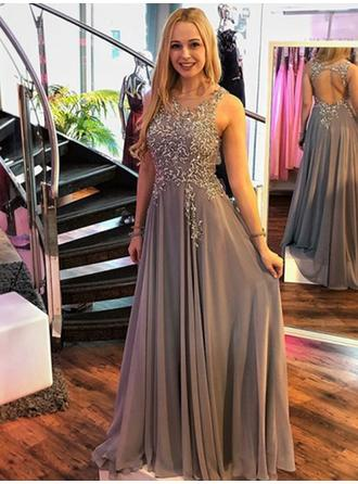 A-Line/Princess Scoop Neck Floor-Length Prom Dresses With Appliques