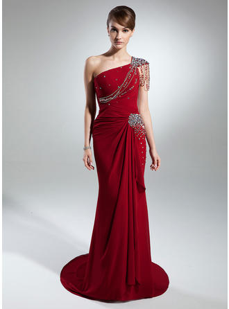 Trumpet/Mermaid Chiffon Sleeveless One-Shoulder Court Train Zipper Up Mother of the Bride Dresses