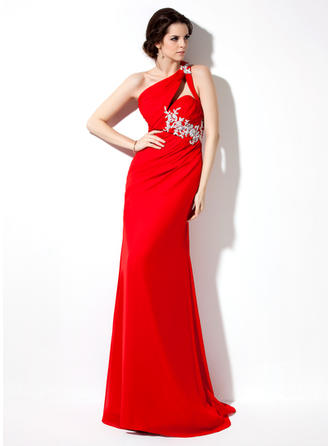 Sheath/Column One-Shoulder Sweep Train Evening Dresses With Ruffle Beading Appliques Lace Sequins
