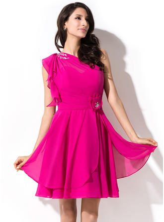 A-Line/Princess One-Shoulder Short/Mini Chiffon Homecoming Dresses With Beading Sequins Cascading Ruffles