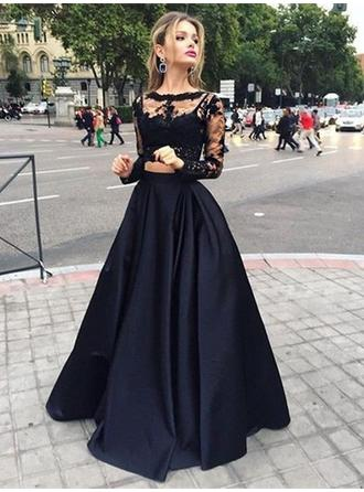 A-Line/Princess Floor-Length Prom Dresses Scoop Neck Satin Long Sleeves
