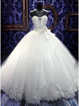 Ball-Gown Sweetheart Floor-Length Wedding Dresses With Sash Beading Flower(s) Bow(s)