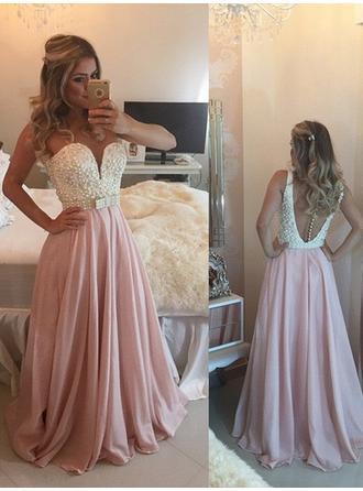 A-Line/Princess Sweetheart Floor-Length Prom Dresses With Beading Bow(s)
