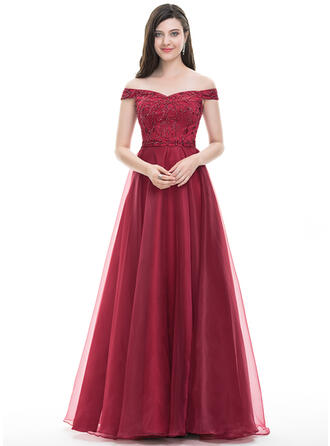 A-Line/Princess Off-the-Shoulder Floor-Length Organza Prom Dresses With Beading Sequins