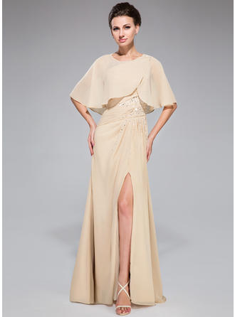 A-Line/Princess Chiffon Long Sleeves One-Shoulder Floor-Length Zipper Up Mother of the Bride Dresses