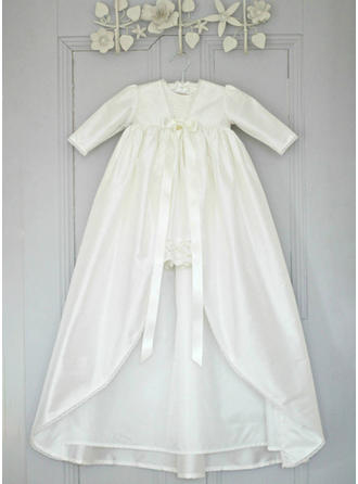 A-Line/Princess V-neck Floor-length Satin Christening Gowns With Lace