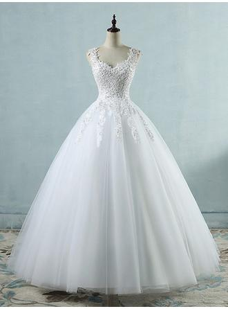 Ball-Gown V-neck Floor-Length Wedding Dresses With Appliques Lace