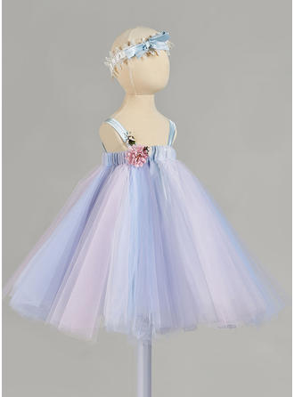 A-Line/Princess Straps Ankle-length Tulle Christening Gowns With Flower(s)