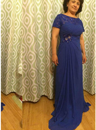 A-Line/Princess Chiffon Short Sleeves Scoop Neck Sweep Train Zipper Up Mother of the Bride Dresses