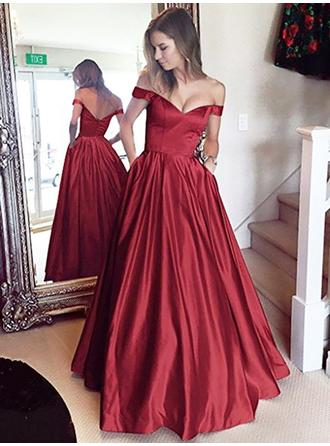 A-Line/Princess Off-the-Shoulder Floor-Length Prom Dresses With Ruffle