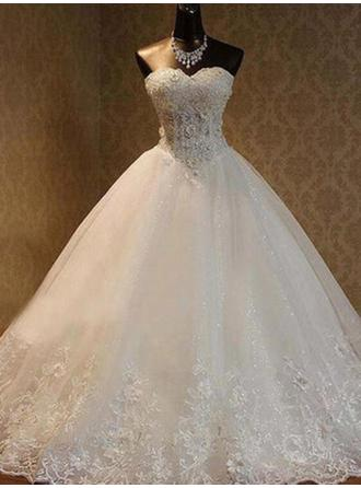 Ball-Gown Sweetheart Floor-Length Wedding Dresses With Beading Appliques Lace