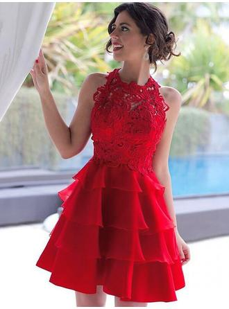A-Line/Princess Scoop Neck Short/Mini Chiffon Homecoming Dresses With Cascading Ruffles