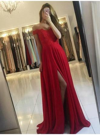 A-Line/Princess Off-the-Shoulder Sweep Train Prom Dresses With Lace Beading Split Front