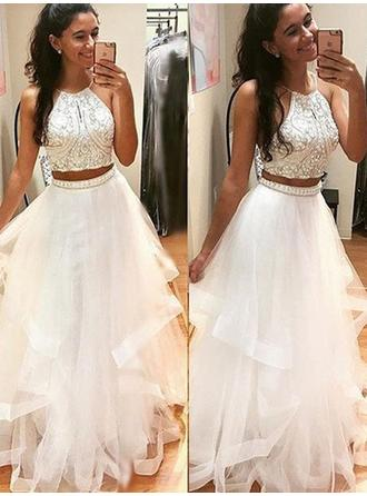 A-Line/Princess Floor-Length Prom Dresses Scoop Neck Tulle Sleeveless