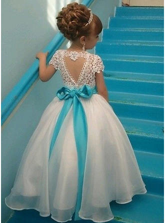 Elegant Scoop Neck A-Line/Princess Flower Girl Dresses Ankle-length Organza/Lace Sleeveless