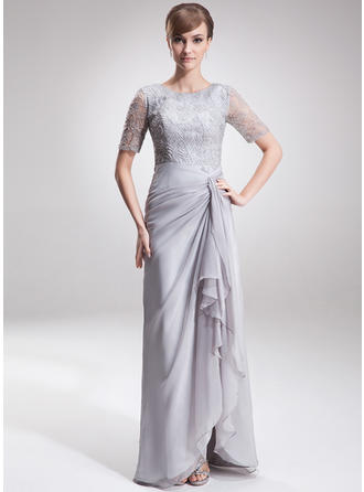 A-Line/Princess Chiffon Lace 1/2 Sleeves Scoop Neck Asymmetrical Zipper Up Mother of the Bride Dresses