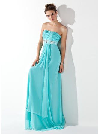 Empire Strapless Sweep Train Evening Dresses With Ruffle Beading