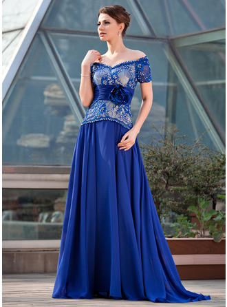 A-Line/Princess Chiffon Lace Short Sleeves Off-the-Shoulder Sweep Train Zipper Up Mother of the Bride Dresses