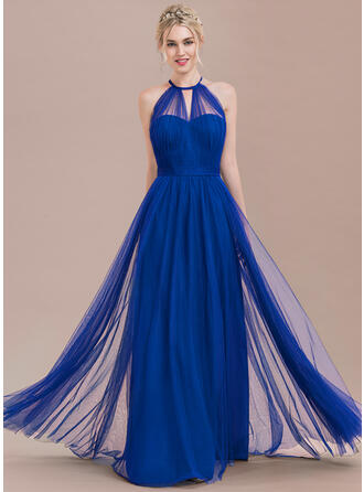 A-Line Scoop Neck Floor-Length Tulle Prom Dresses With Ruffle Bow(s)