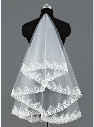 Waltz Bridal Veils Tulle One-tier Oval/Mantilla With Lace Applique Edge Wedding Veils