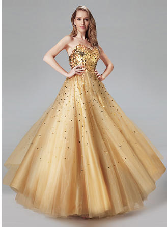Ball-Gown Sweetheart Floor-Length Prom Dresses With Sequins