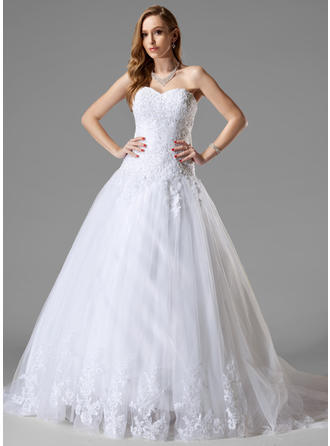 Ball-Gown Sweetheart Court Train Wedding Dresses With Lace Beading