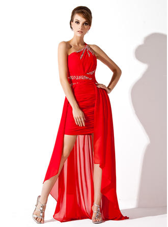 A-Line/Princess Chiffon Prom Dresses Ruffle Beading One-Shoulder Sleeveless Asymmetrical