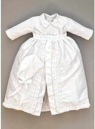 A-Line/Princess Peter Pan Collar Floor-length Satin Christening Gowns With Lace