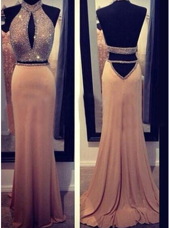 Sheath/Column Chiffon Prom Dresses Beading Halter Sleeveless Sweep Train