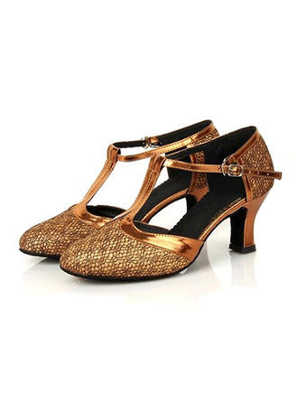 Women's Ballroom Heels Leatherette Sparkling Glitter With Buckle Dance Shoes