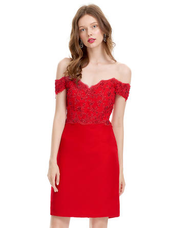 Sheath/Column Off-the-Shoulder Knee-Length Chiffon Cocktail Dress With Beading Sequins
