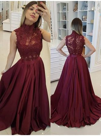 A-Line/Princess High Neck Sweep Train Satin Evening Dresses With Beading Appliques Lace