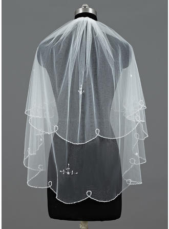 Elbow Bridal Veils Tulle Two-tier Classic With Beaded Edge/Sequin Trim Edge Wedding Veils